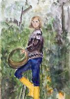 Acquerello Impressionista Giovane Donna con Gialli Regenstiefeln in Giardino