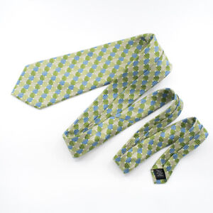 Nicole Miller New York Designer Tie - 100% Silk - Geometric Blue Green Silver