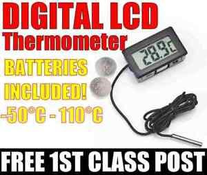 LCD Digital Thermometer Greenhouse Aquarium & BATTERIES.  FREE 1ST CLASS POST