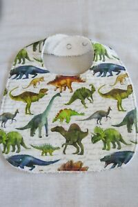 Handmade bib- Dinosaurs on white