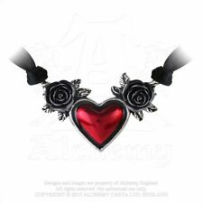 Alchemy England Gotico Steampunk Collana Girocollo Ciondolo in peltro sangue Heart Rose