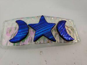 "Handmade - 4.5"" Dichroic Fused Glass Barrette - White"