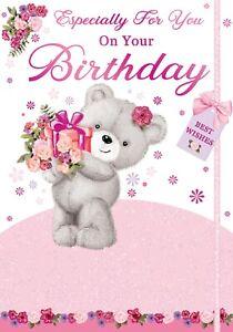 Ladies 'Especially For You On Your Birthday' Card. Cute Teddy Bear Card.