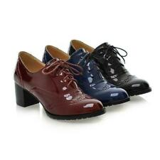 Women Patent Leather Lace Up Toe Chunky Mid Bloc Heel Court Brogue Formal Shoe D