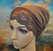 New Cotton Under Scarf Hijab Bonnet Cap Hump&Bun Style Deep Beige Attached lace