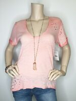 New We The Free People Small Coral Distressed Burnout Short Sleeve Tee Shirt Top