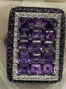 New 14K LeVian Diamond Amethyst Black Diamond Designer Statement Ring New