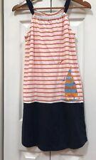 Lands End 10 12 Girls Dress Stripe Sailboat Boat Blue Orange White Sleeveless