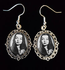 Morticia Addams Family Antique Silver Drop Earrings Goth 1960s TV