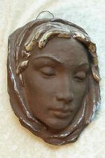RARE Vintage KARLSRUHER TEDESCO ANNI'50 SMALTATA TERRACOTTA LADY muro MASK HEAD