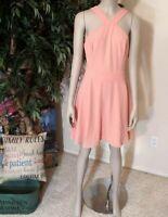 Charlotte Russe Silky Chiffon Peach Skater Dress Bib Neck Lined Medium NEW Free