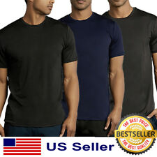 Mens New Athletic Moisture Wicking Dri Fit Gym Workout Sports Solid T-Shirt S-XL