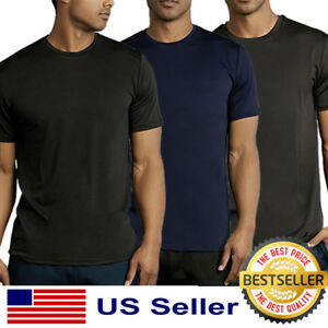 Dry Fit Athletic Shirts for Men Ice Silk Quick Dry T-Shirt Moisture Wicking Active Performance Shirts Running Gym Tees