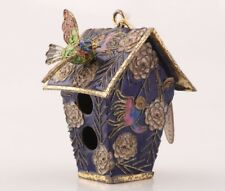 CLOISONNE PINCH SILK HAND CARVING BIRD HOUSE STATUE PENDANT CHRISTMAS DECORATION