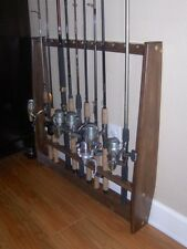 Vertical Wall Fishing Pole Rod Rack Pine Holder Walnut Stain 12 Rods TVWRR-12S
