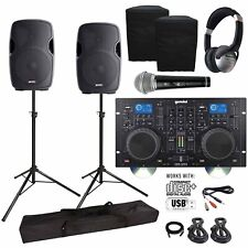"Gemini CDM-4000 CD/MP3/USB Media Player & AS-15P 15"" PA Speakers DJ Package"
