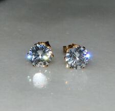 Delicate 18K Rose Gold Filled White Topaz Crystal Hoop Snap Closure Earrings