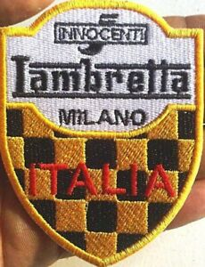 Lambretta Innocenti Yellow/Black chequered  sew on cloth patch 90mm x 70mm (yy)