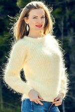 Light Mohair Sweater SUMMER IVORY Hand Knitted Top Sexy Fuzzy Jumper SUPERTANYA