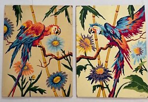Vintage Paint By Number Pair Parrots 1959 Two 12x16 PBNs Midcentury Tropical