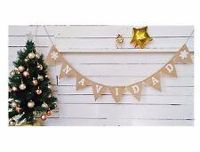 ❄ NAVIDAD❆ Christmas Garland Bunting Hessian Burlap Banner Handmade Home