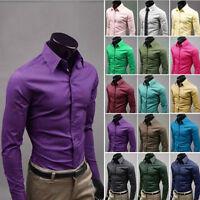 Mens Fashion Luxury Stylish Casual Slim Fit Shirts Long Sleeve Dress Shirts