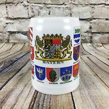 Bayern Ceramarte Crest Coats of Arms German Stoneware Beer Stein Mug