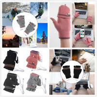 Laptop Women Men USB Heated Mitten Full&Half Finger Winter Warm Knit Hand Gloves