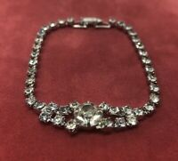 "Vintage Bracelet 7"" Silver Tone Rhinestone"