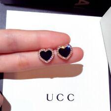 2019 hot Cute Black Sapphire Love Heart Stud Earrings Rose Gold Womens Jewelry