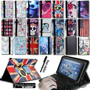 "Leather Stand Cover Case + Keyboard For For Amazon Kindle Fire 7"" 8"" Tablet"