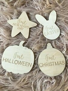 My First Christmas Easter Halloween New Years Wooden Discs Milestone Cards