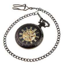 Men Classic Skeleton Design Mechanical Hand Winding Pocket Watch with Chain