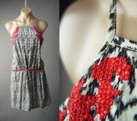 White Black Ikat Print Red Embroider Travel Strappy Slip Sun 296 mvp Dress S M L