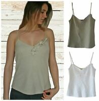 Linen Strappy Cami Top Summer Holiday White Beige or Khaki