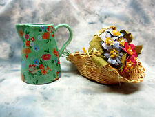 Collectible Nabco Muffy's Pick-a-Posy Set Flower Basket, Pitcher Shaped Vase