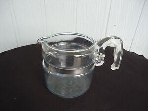 vintage retro pyrex  glass coffee percolator pot  4 cup  kettle teapot no lid