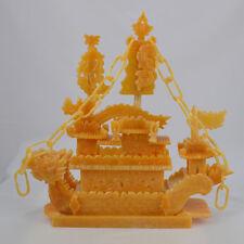 """16"""" China Natural Yellow Jade Zodiac Phoenix Dragon Sailing Boat Ship Treasure"""