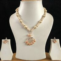 PEACH GOLD INDIAN COSTUME JEWELLERY NECKLACE EARRINGS PEARLS CRYSTAL SET NEW 206