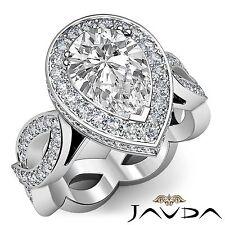 Halo Pre-Set Pear Diamond Unique Engagement Ring GIA F VS1 18k White Gold 2.8ct