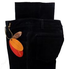 Lee Jeans Womens Junior Leather Pants 1/2 One True Fit Suede Black Flare Lined
