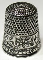 Antique Stern Bros. Co. Sterling Silver Thimble Folk Art Bumble Bees & Flowers