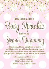 Baby Sprinkle Invitation, Girl, Pink, Gold, Baby Shower, Sprinkle, Invitation