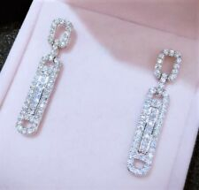 White Gold Plated Faux Diamond Paste Crystal Drop Dangle Art Deco Style Earrings