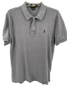 Ralph Lauren Rugby Polo Shirt Men's Size Tagged XL (Measures L) Gray Skull Used