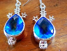 blue topaz quartz silver earrings size 30 mm