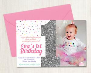 Custom Printable Girls Birthday Photo Invitation 1st  Silver Glitter Confetti