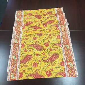 Pottery Barn Outlet Yellow/Orange Cotton Floral Placemats Set of 8 14x20
