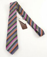 Eton NWT Silk Neck Tie In Black With Bold Multicolor Stripes Wool & Silk