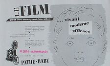 PUBLICITE PATHE BABY LE FILM CINEMATHEQUE PROJECTEUR BEBE DE 1949 FRENCH AD PUB